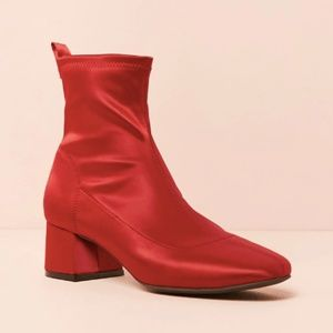 Forever 21 Shoes - Satin Block-Heel Ankle Boots